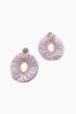 Lilly Almond Fringe Edge Earrings (Lilac/Gold)