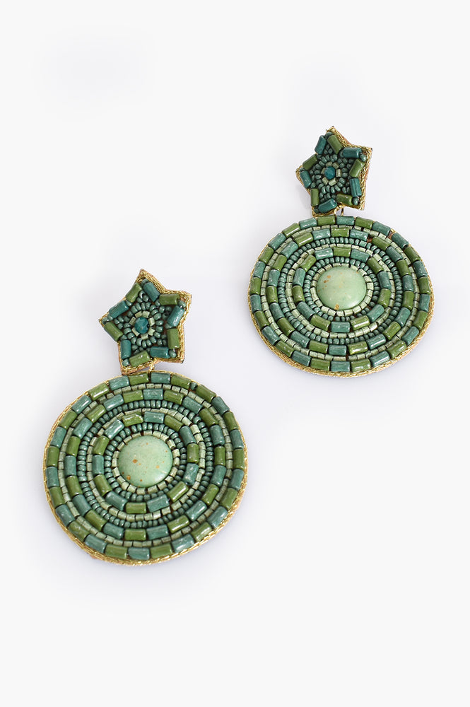 Beaded Star Circles Earrings (Green/Multi)