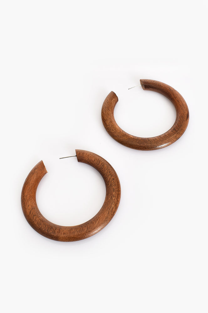 Timber Hoop Earrings (Tan)