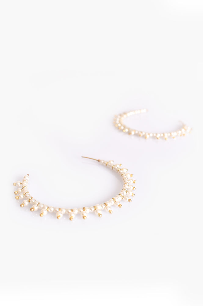 Pearl Bead Hoop Earrings (Cream/Gold)