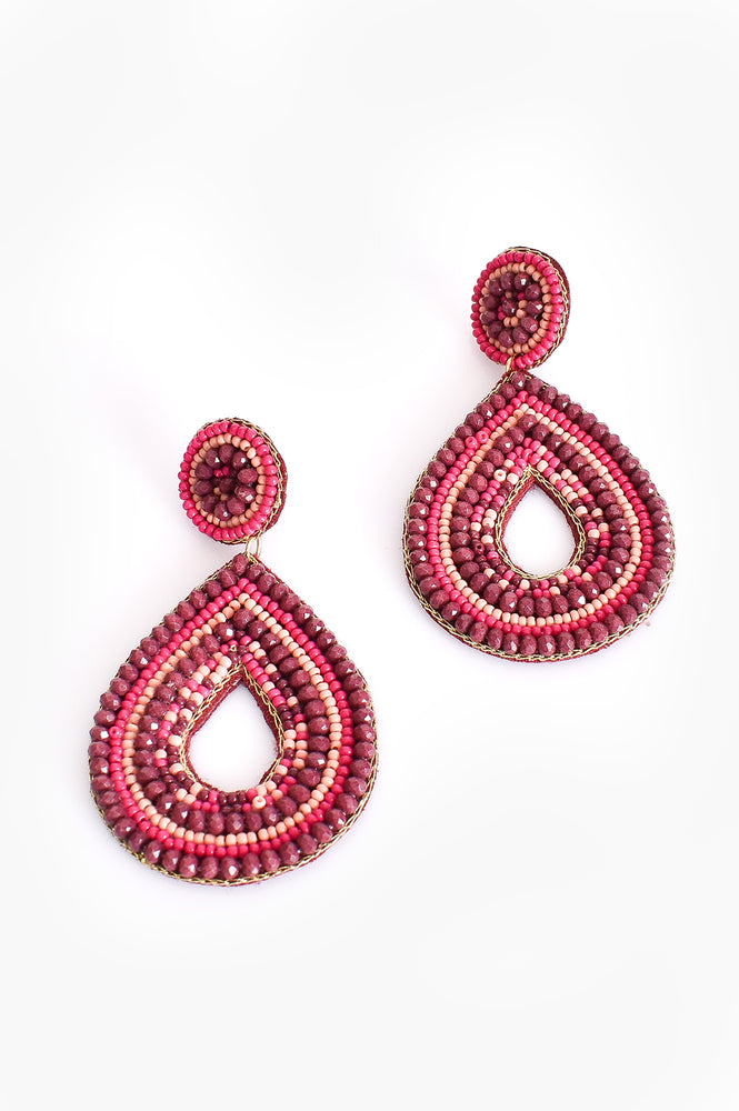 Hand Beaded Teardrop Earrings (Berry/Peach)