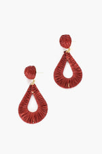 Milli Woven Teardrop Earrings (Berry)
