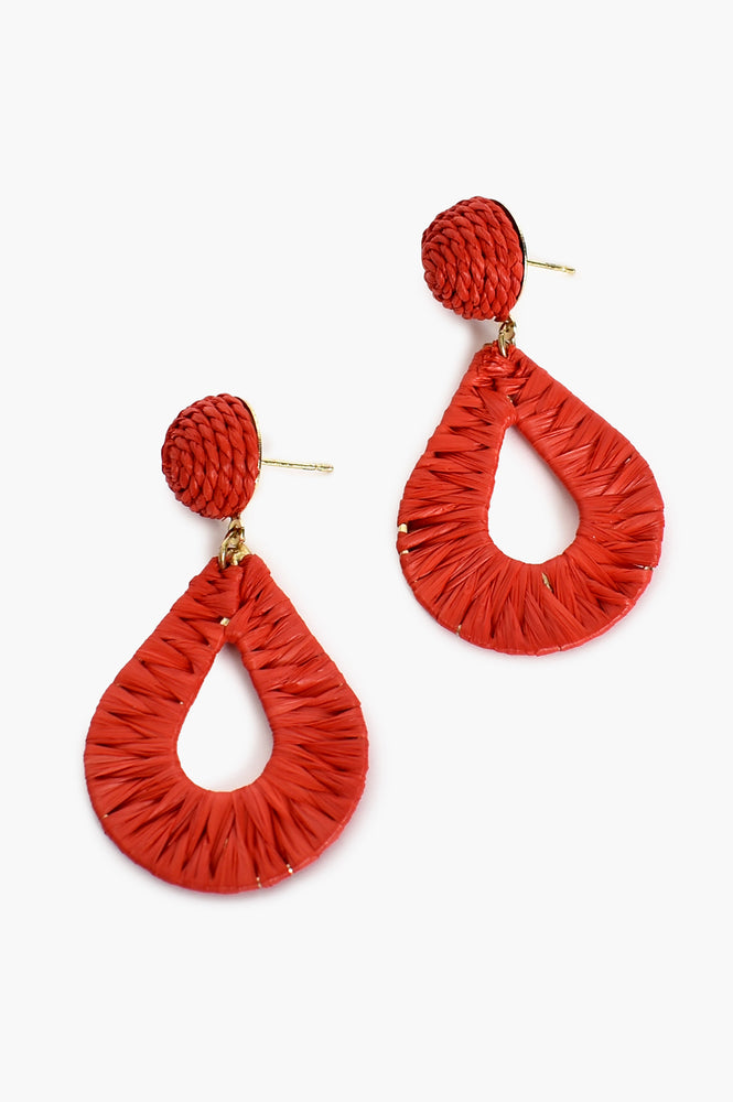 Woven Teardrop Earrings (Coral)