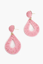 Woven Teardrop Earrings (Pale Pink)