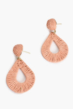 Woven Teardrop Earrings (Peach)