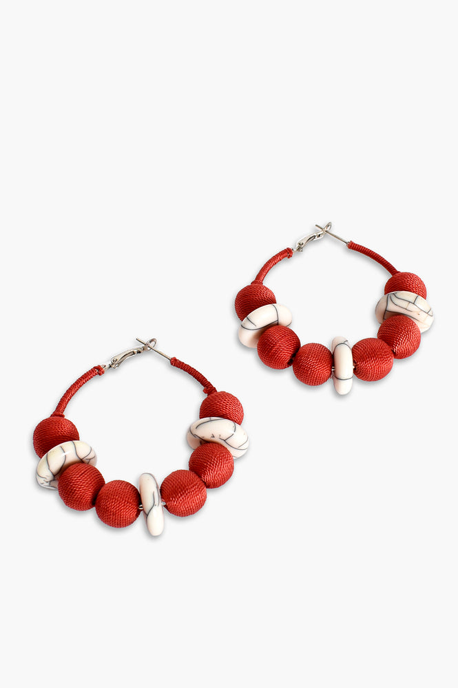 Weave Ball Stone Hoop Earrings (Coral/White)