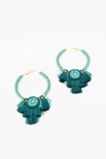 Graduated Tassels Hoop Earrings (Camel/Mint)