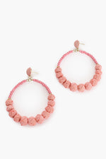 Woven Balls Circle Front Earrings (Light Coral)