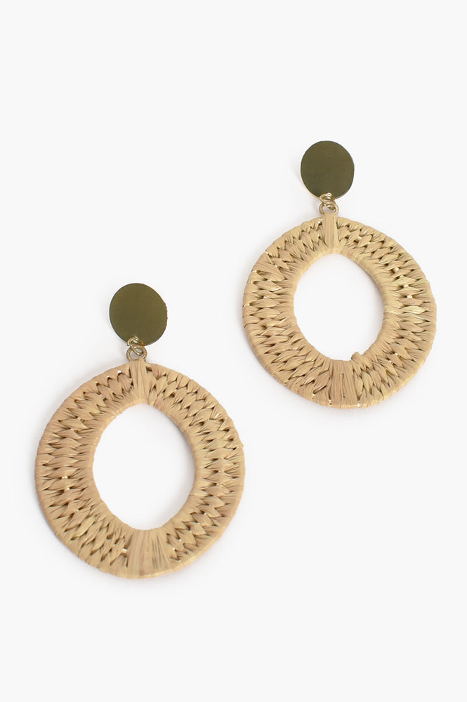 Natural Weave Button Top Earrings (Natural)
