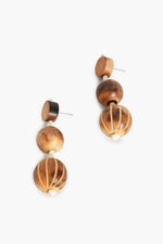 Timber Pattern Bead Drop Earrings (Tan/Cream)