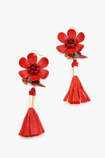 Paradiso Flower Raffia Drop Earrings (Red/Multi)
