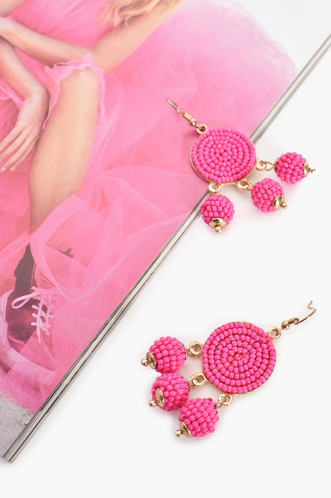 Beaded Ball Drops Hook Earrings (Hot Pink)