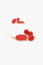 Beaded Ball Drops Hook Earrings (Red)
