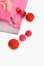 Woven Ball Drop Earrings (Pink/Red)