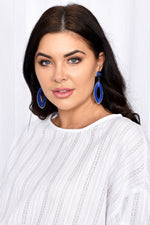 Cotton Wrapped Tear Drop Earrings (Blue)