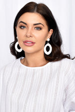 Cotton Wrapped Tear Drop Earrings (White)