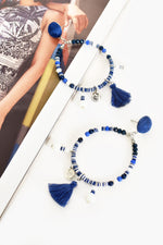 Bead Tassel Hoop Front Earrings (Blue/White)
