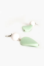 Timber Resin Mix Drop Hook Earrings (White/Mint)
