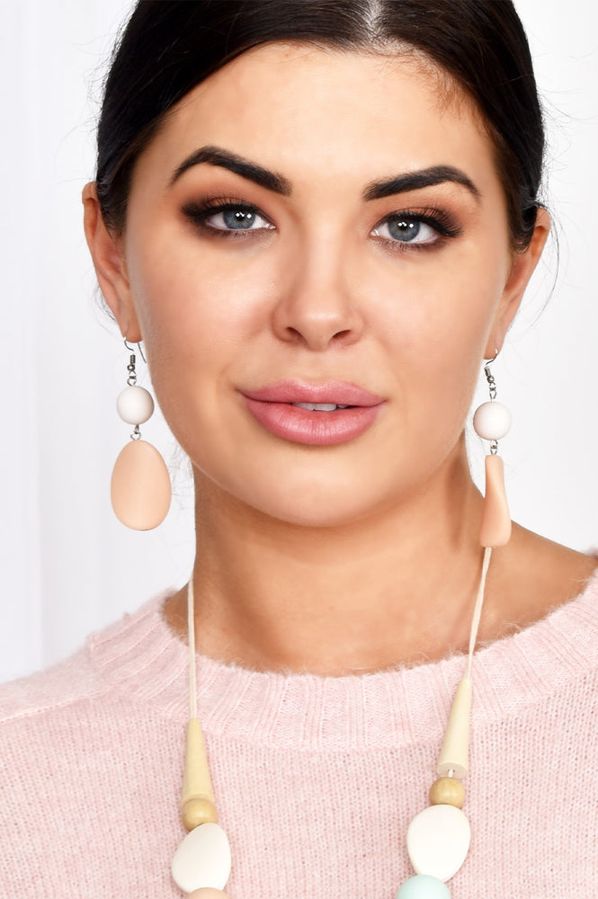Timber Resin Mix Drop Hook Earrings (White/Pink)