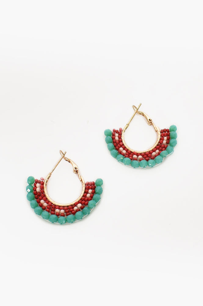 Beaded Skirt Hoop Earrings (Teal/Red)