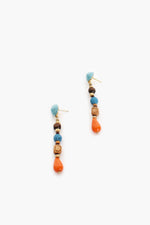 Mixed Bead Shapes Button Top Earrings (Orange/Blue)