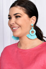 Raffia Ring Tassel Earrings (Red)