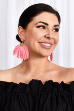 Carnivale Feather Earrings (Hot Pink)
