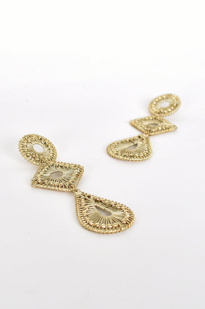 Bead Detail Metallic Shapes Earrings (Gold)