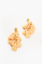 Jungle Love Bead Tassel Earrings (Cream)