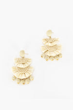 Mini Bead Layered Fringe Earings (Natural)