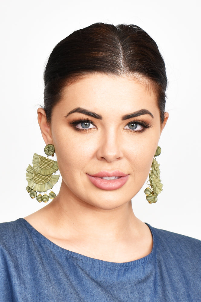 Mini Bead Layered Fringe Clip On Earrings (Natural)