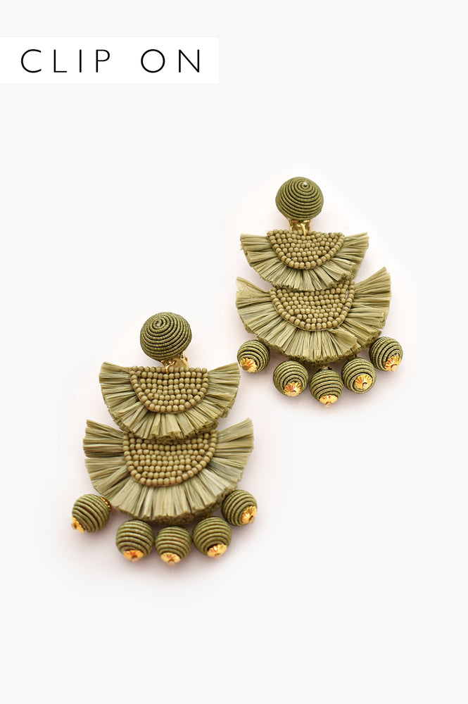 Mini Bead Layered Fringe Clip On Earrings (Green)
