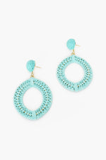 Natural Weave Button Top Earrings (Mint)