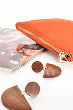 Timber Half Moon Shape Earrings (Chocolate)