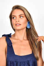 Bead Diamante Curved Event Earrings (Blue)