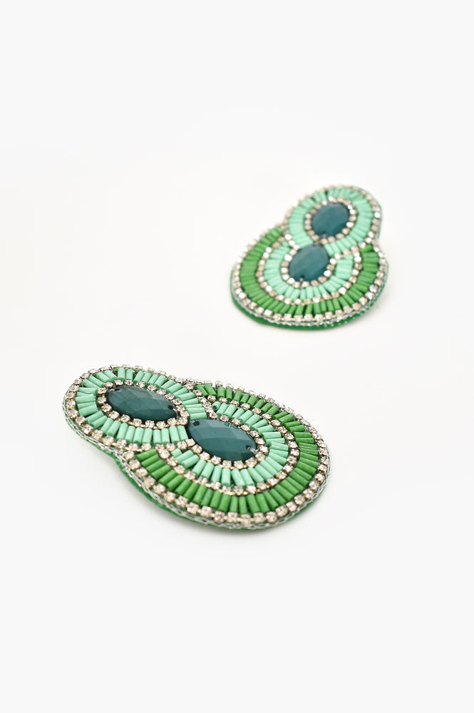 Bead Diamante Curved Event Earrings (Green)