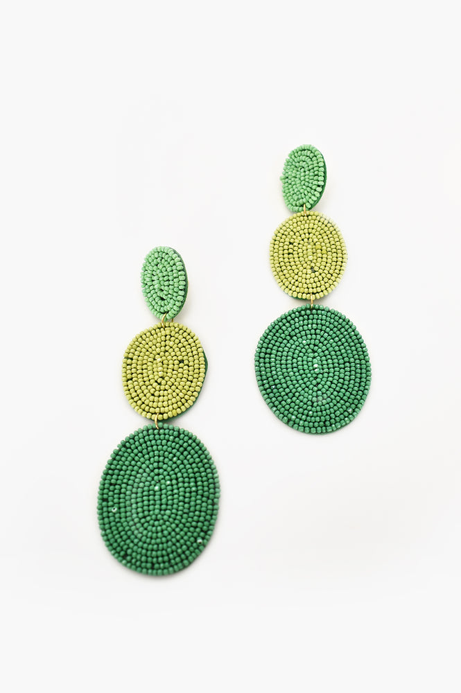 Trio Oval Bead Drops (Green/Lime)