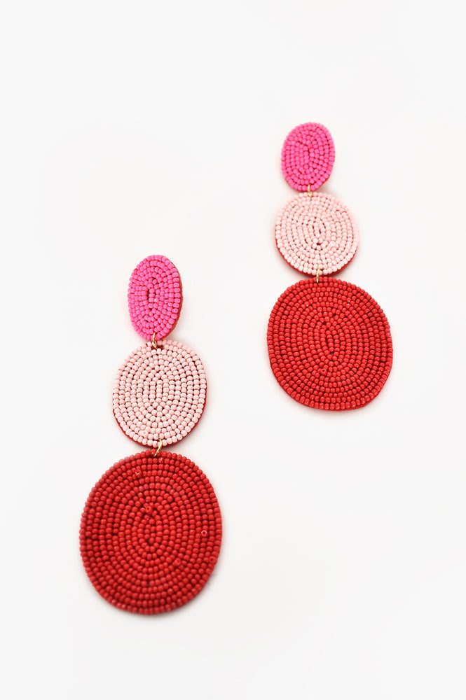 Trio Oval Bead Drops (Red/Pink)