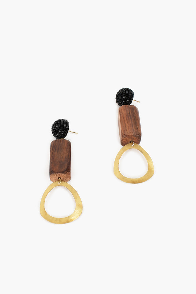 Bead Timber Metal Drop Earrings (Black/Gold)