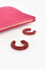 Beaded Tube Hoops (Berry)