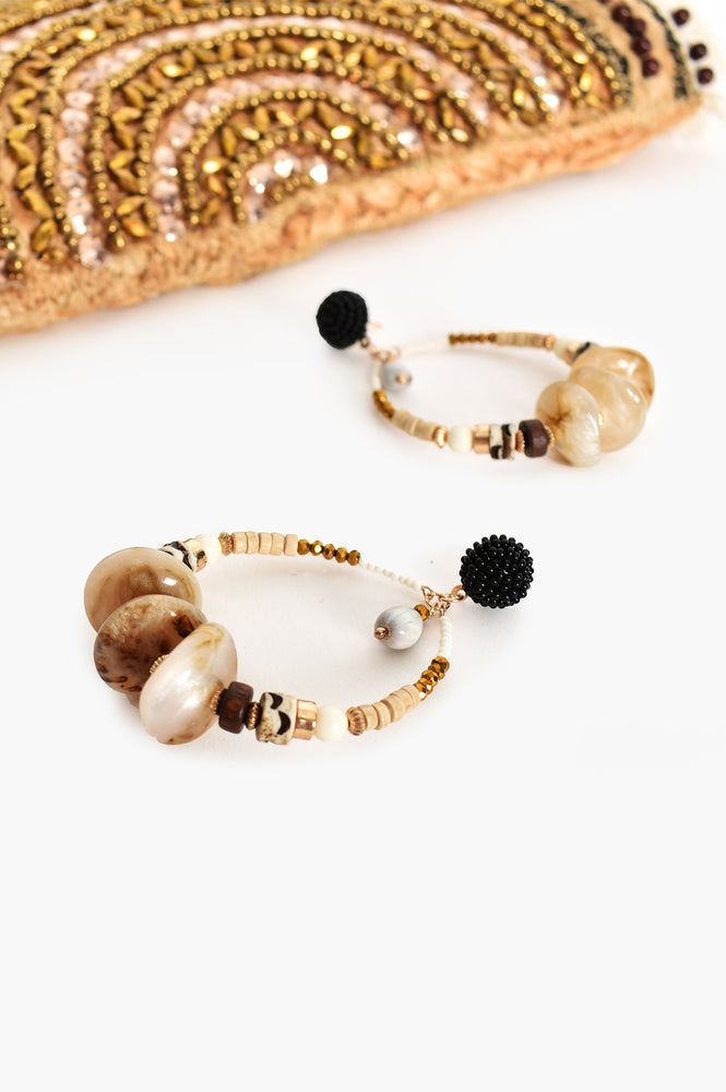 Mixed Bead Ring Front Earrings (Black/Natural)