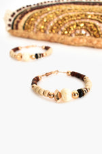 Mixed Bead Hoop Earrings (Chocolate Natural)