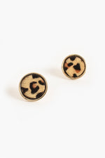 Hide Button Stud Earrings (Tan/Leopard)