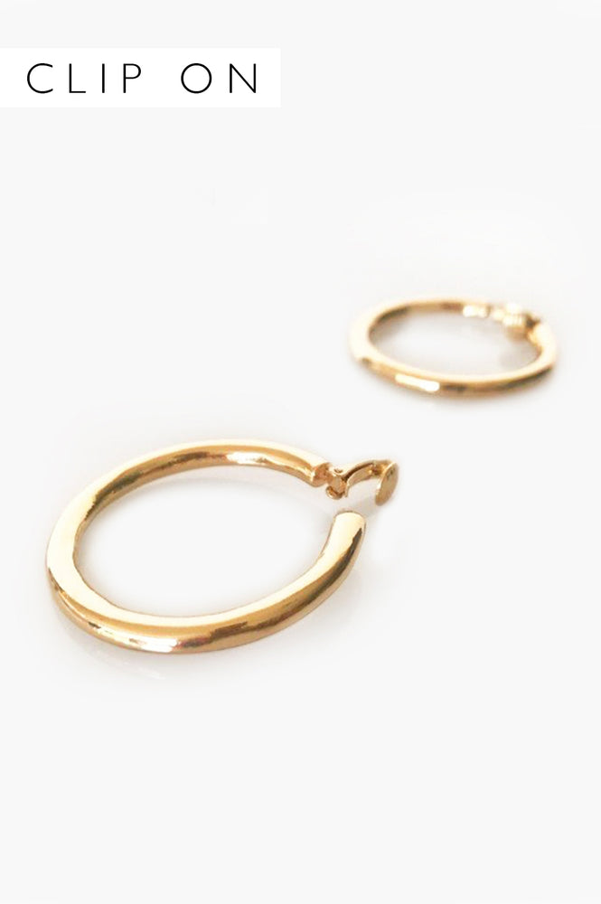 Mia Clip On Hoop Earring (Warm Gold)