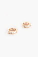 Rubover Diamante Huggie Hoop Earrings (Gold/Crystal)