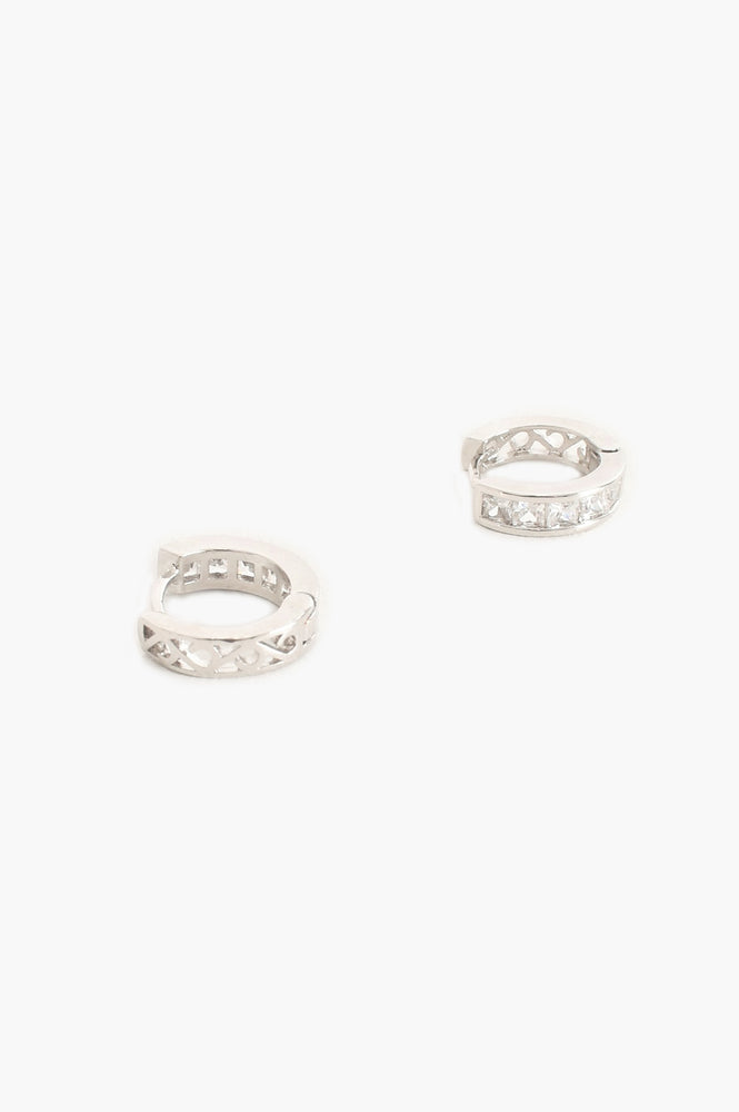 Rubover Diamante Huggie Hoop Earrings (Silver/Crystal)