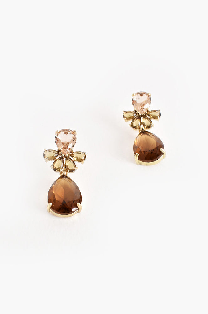 Teardrop Facet Glass Earrings (Bronze/Gold)