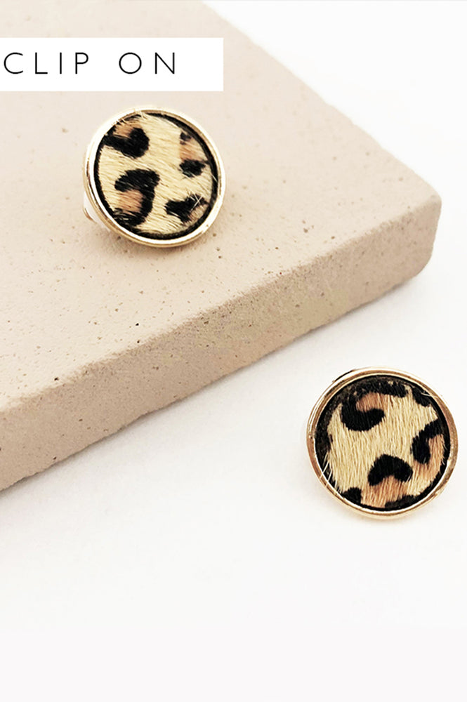 Hide Button Clip On Earrings (Leopard/Gold)