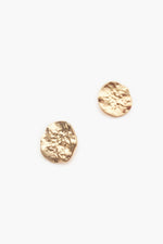 Textured Metal Stud Earrings (Gold)