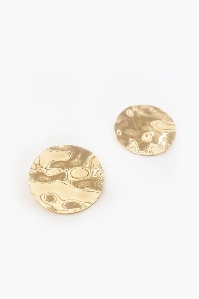 Beaten Disc Stud Earrings (Gold)